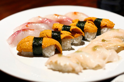 Among Sunday's diner menu. red snapper, Uni and giant clam.