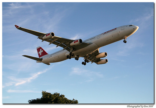 Swiss int'l airliner approaching LAX